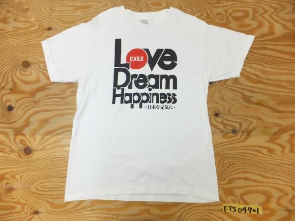 EXILE エグザイル Love, Dream & Happiness 日本を元気に サインプリント 復興支援Tシャツ 白 ホワイト M ライブグッズの画像