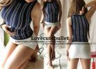 2点☆ピタ美胸ストライプTOPS&美タイトsexyミニスカート(紺×白)