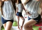 2点☆ピタ美胸ストライプTOPS&美タイトsexyミニスカート(白×紺)