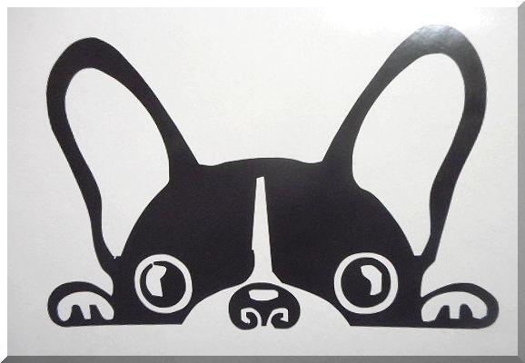 窓からのぞく子犬 カッティングステッカー ◆ フレンチブルドッグ ◆ JDM_画像1