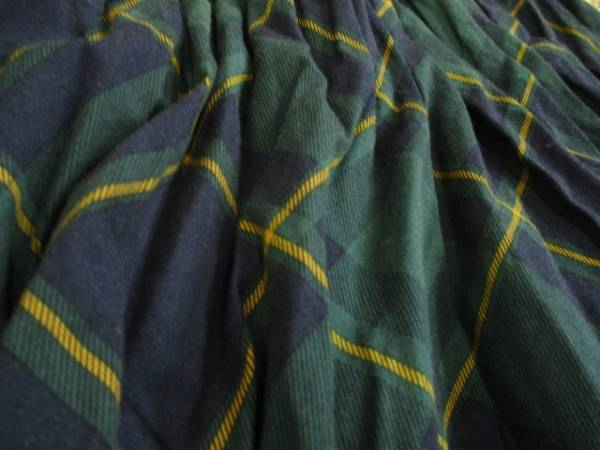 レディース◆ローリーズファーム お洒落 綿100% ボリュームフレアスカート F 緑×紺◆/_画像2