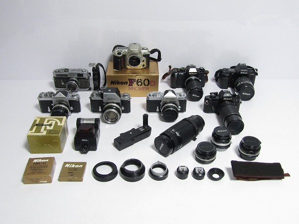 F26-0889[CB2] カメラ レンズ まとめて 大量セット キャノン Canon 7/ ニコン Nikon/F60/301/801/F/EM/Nikomat など【ジャンク扱い】1円~
