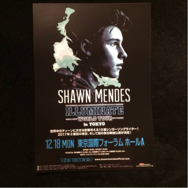 コンサートチラシ★Shawn Mendes ILLUMINATE WORLD TOUR in Tokyo