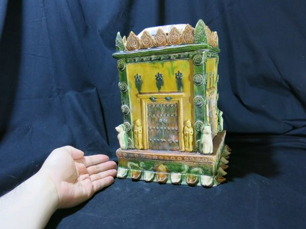 A 三彩舎利容器 博物館、ミュージアム級 北宋時代 10世紀 中国 古玩 仏教 仏像 唐三彩 発掘品_画像1
