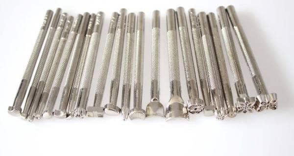 レザークラフト 刻印 カービング スタンプセット  20本 シルバー 銀色 日本全国送料無料