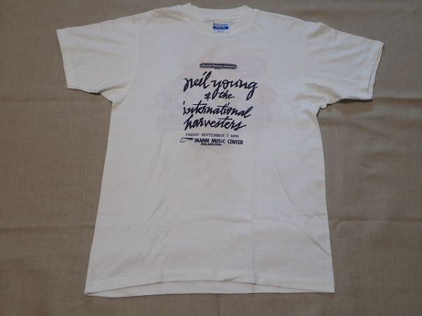 【 80S NEIL YOUNG 】 ヴィンテージ Tシャツ 白 M シングルステッチ / Madonna blondie CS&N crazy horse oasis bob Dylan jeff beck