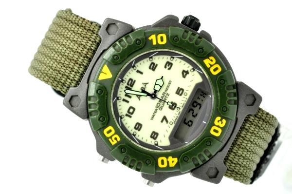 セイコー アルバ◆ミリタリー カーキ色 アナデジ メンズ腕時計 クォーツ V041-6020 SEIKO ALBA 夜光文字盤 中古 ダイバーベゼル 送料無料