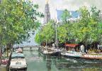 ■大沢武■ 【アムステルダムの運河】 油彩 4号 真作保証有り サイン有り