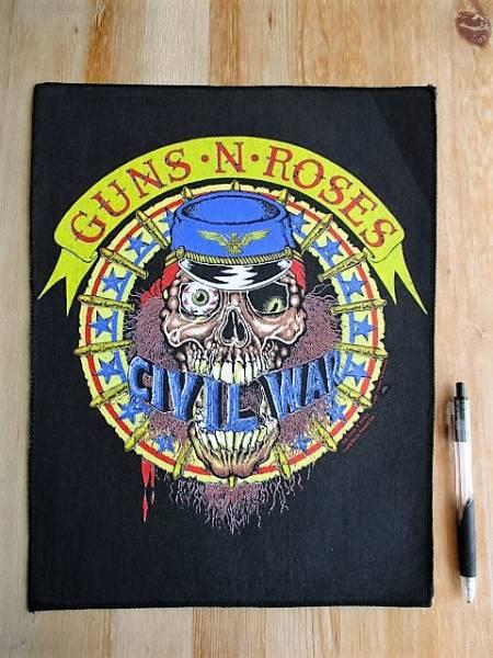 当時物 Guns N' Roses プリントバックパッチ CIVIL WAR デッドストック ヴィンテージ 1991 / metallica iron maiden motley crue ガンズ