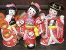 昭和30年代 日本人形 陶器 3体 古い 土人形 女の子 着物 日本舞踊 少女 王様印 玩具 人形 愛知県 常滑 永和商店 アンティーク