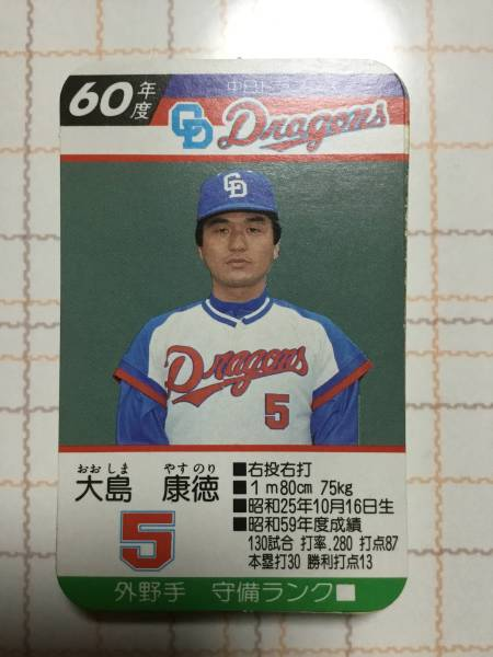 タカラプロ野球カード 昭和60年度 中日ドラゴンズ ケース無し30枚セット 9本バッター 谷沢 モッカ グッズの画像