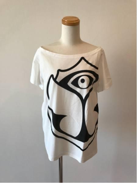 美品 Tomorrowland 2016限定 全面ロゴレディースTシャツ トゥモローランド フェス 公式グッズ 女性 オフショル レディース ティーシャツ白