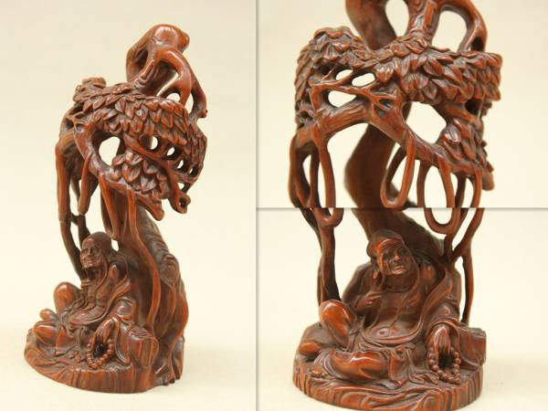 柘植木細彫 仏教 長眉羅漢仏像 大師製作 古美術品
