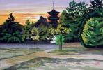【団忠】京版画の継承者 井堂雅夫 『吉備の塔』 1988年 175/180 日本版画協会入選 京都出身