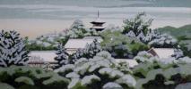 【団忠】京版画の継承者 井堂雅夫 『黒谷の冬』 1988年 197/200 日本版画協会入選 京都出身