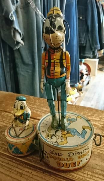 40s antique vintage goofy Donald duckブリキ アンティーク ヴィンテージ グーフィー ドナルドダック tinplate コレクション ディズニーグッズの画像