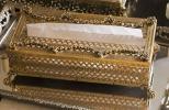 アンティーク ティッシュボックス 獣足&フラワー ガーランド オルモル ゴールドフィリグリー 小物入れ ディスプレイボックス