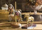 アンティーク 馬のカルーセル 置物 2点set ポーセリン真鍮 ウマ メリーゴーランド リキュール マドラー ハイボール ダービー ディスプレイ
