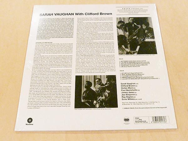 サラ・ヴォーンWith Clifford Brown未開封限定リマスター180g重量盤アナログLPボーナストラック1曲追加収録Sarah Vaughan DMM Herbie Mann_画像2