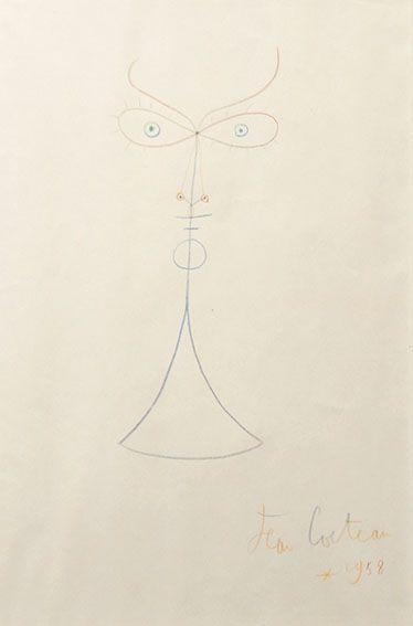 【特選】ジャン・コクトー画額「顔」 ドローイング 1958_画像2