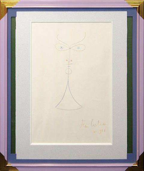 【特選】ジャン・コクトー画額「顔」 ドローイング 1958