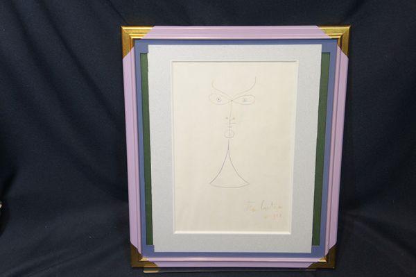 【特選】ジャン・コクトー画額「顔」 ドローイング 1958_画像3