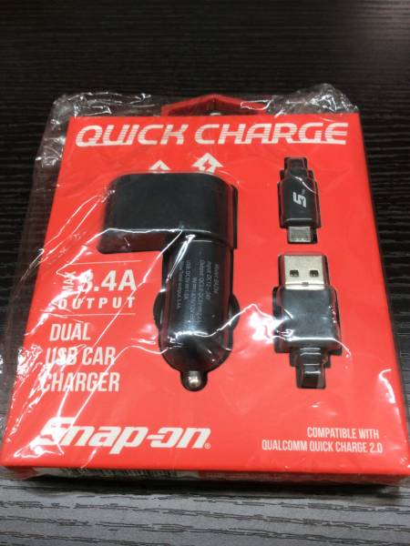 snap-on カーチャージャー クイックチャージャー シガーソケット USB充電器 新品未使用 送料無料