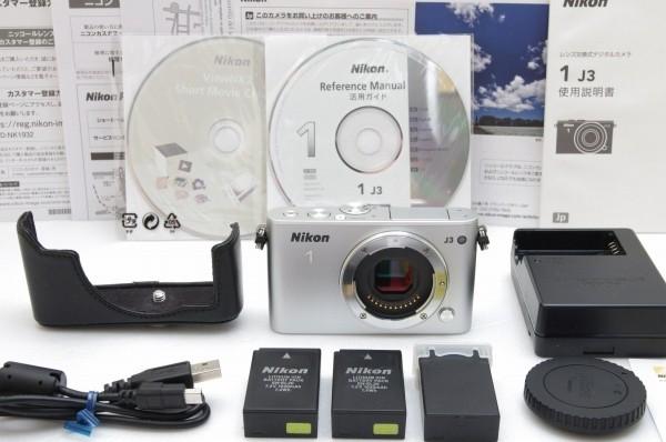 [3475ショット美品] Nikon 1 J3 純正ケース バッテリー×3 シルバー 説明書一式