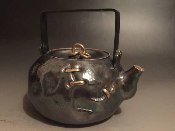 純銀保証 北村静香 岩目鉄弦破継 湯沸 銀瓶 茶道具/刻印有