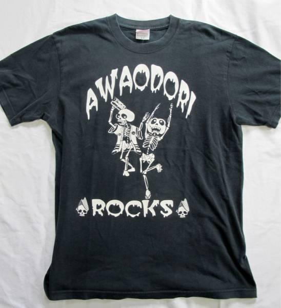 AWAODORI阿波踊りロックTシャツ黒ブラックL