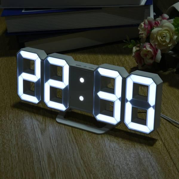 ◆送料無料◆LED◆デジタル◆3D◆壁掛時計/置時計◆ホワイト◆シンプル◆インダストリアル◆男前◆掛け◆置き◆