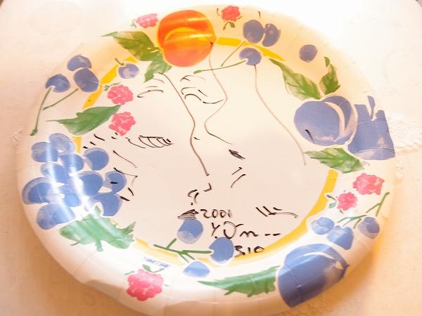 ★天野喜孝イラスト・サイン入り紙皿2001年ファイナルファンタジータイムボカン グッズの画像