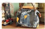ハンドメイド:岡山デニム + リユースデニム:おでかけ:ボストン:バッグ:ふしぎ:パッチ:ヌメ革の持ち手 ※ご希望でリュックにも♪ Handmade