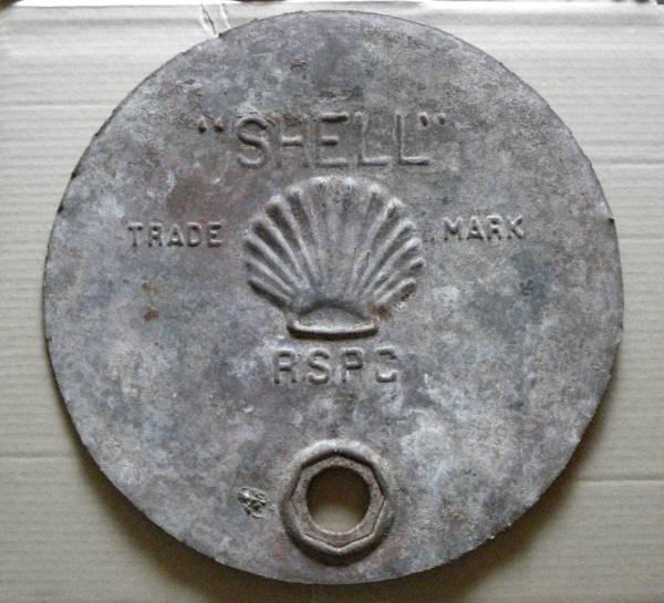 希少品/珍品/古い!看板/戦前? ◆ シェル石油【Shell】 マーク/エンボス/ドラム缶 ◆