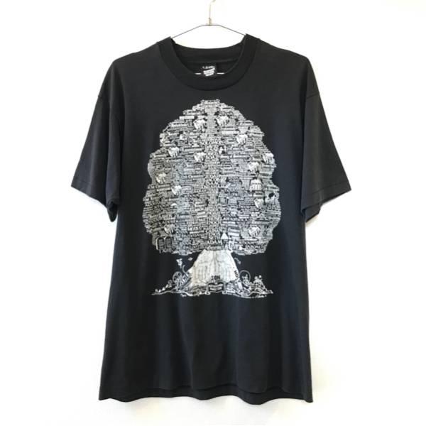 希少 90s USA製 宗教 ファミリー ロックツリー ビンテージ Tシャツ 黒 XL