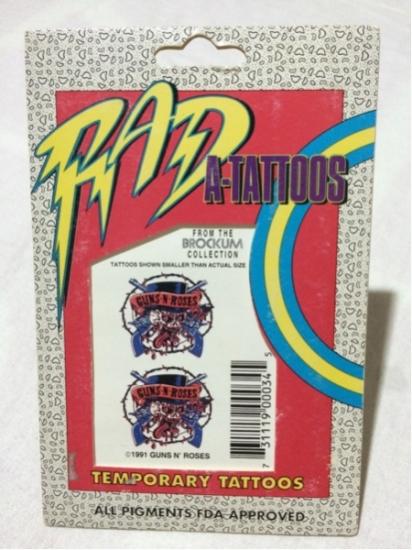 [デッドストック ビンテージ 希少 90s USA]BROCKUM RAD A-TATOOS GUNS N' ROSES TEMPORARY TATOO ガンズアンドローゼズ タトゥーシール ライブグッズの画像