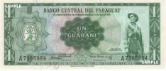 【 南アメリカ大陸 / 中央南部 】 パラグアイ共和国 − パラグアイ兵士 / 中央銀行 1グアラニー紙幣 1963年 未使用品