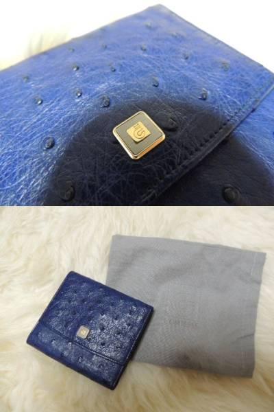 新品級【COMTESSE コンテス】ロイヤルブルー 最高級オーストリッチ ダチョウ革 世界のロイヤルセレブ 二つ折りがま口財布 ウォレット 6622