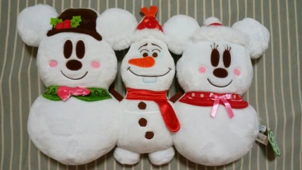 クリスマス 2015 オラフ アナ雪 スノー 雪だるま ミッキー ミニー クッション 3連 約53cm ディズニー ディズニーグッズの画像