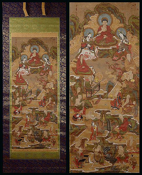 ■地球屋■ 古仏画「金泥如来文殊普賢羅漢図」室町時代 仏教美術