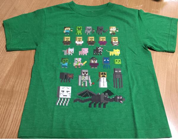 マインクラフト 公式 Tシャツ L G 8-9歳 グリーン 未使用 Minecraft 130 ㎝センチ 子供用 キッズ グッズの画像