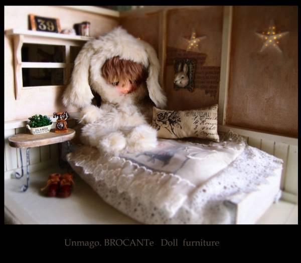 Un*Doll Aliceのガーリー部屋ベッドルーム Doll house ブライス momoko 星形ライト うさぎフレーム シャビーシック