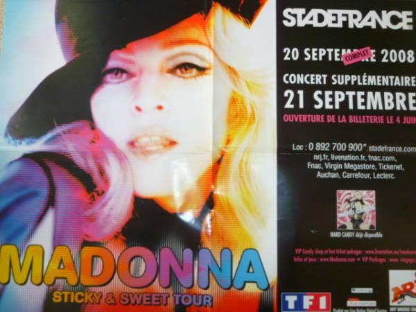 MADONNA マドンナ Sticky & Sweet Tour フランス製 非売品 告知ポスター 45.5 cm x 60.5 cm ライブグッズの画像