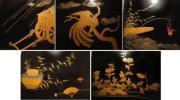 ◆紫野◆ 本格輪島塗 懐石膳 図変り時代絵巻 高蒔絵 5客組 ◇最後の品