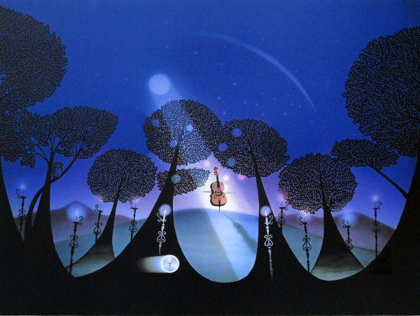 藤城清治「月光のチェロ」リトグラフ 真作保証 1000円~ 極上品 新品同様