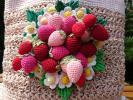 編み屋*しゅしゅ♪麻糸×ピンク☆ストロベリーガーデン☆北欧☆手編み・レース編み・レース糸・トートバッグ