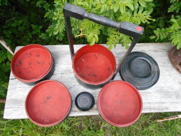 Myanmar Lacqur ミャンマー ビルマ工芸 籃胎漆器他no.32 弁当箱 皿鉢w26d23h45cm 古いものラッカー バガン_画像2