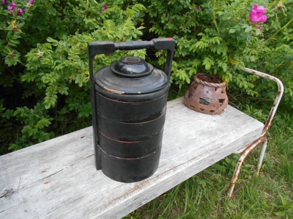 Myanmar Lacqur ミャンマー ビルマ工芸 籃胎漆器他no.32 弁当箱 皿鉢w26d23h45cm 古いものラッカー バガン_画像1