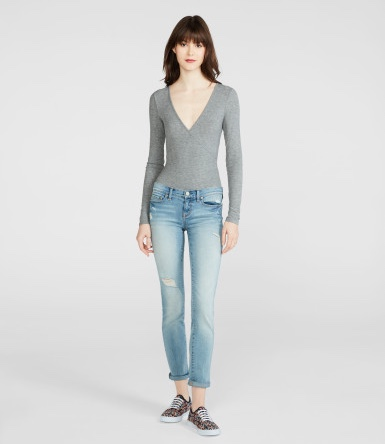 AEROPOSTALE Cape Juby Crossover Bodysuit(L - MED HEATHER GREY)_画像3