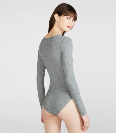 AEROPOSTALE Cape Juby Crossover Bodysuit(L - MED HEATHER GREY)_画像2
